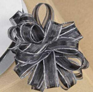 FULL REEL BLACK ORGANZA PULL BOW RIBBON SILVER GLITTER EDGED REEL10mm x 25M