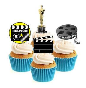 Novelty Hollywood Movie Mix 12 Edible Stand Up wafer paper cake toppers birthday