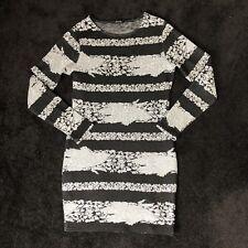 RIVER ISLAND WOMENS BLACK CREAM STRIPE BODYCON DRESS UK SIZE 12 CHRISTMAS