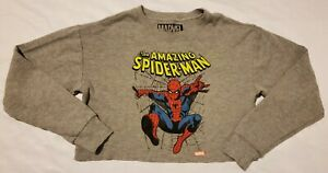 Marvel The Amazing Spiderman Graphic Tee Size S Gray Long Sleeve Shirt Crop Top