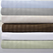 """6 Piece Dobby Stripe 1500 Thread Count Egyptian Quality 14"""" Pocket Bed Sheet Set"""