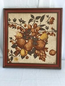 """Vintage Barkcloth Picture Fruit Pears Grapes Wood Frame 16"""" X 17"""" Wall Hanging"""