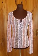 PER UNA pink cream green floral stretch lace long sleeve gypsy boho tunic top 10