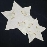 2 Vintage German Embroidered Christmas Table Center Star Shape Doilie Linens