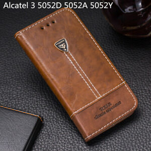 For Alcatel 3 5052D 5052A 5052Y Flip Wallet Pu Leather Phone Case Back Cover Bag