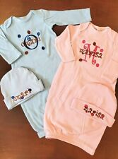 Personalized Baby Boy or Girl Name Dots TWINS SLEEPER LAYETTE Shirt & HAT SET