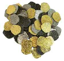 Metal Pirate Treasure Coins - Set of 100 Gold and Silver Doubloon Replicas