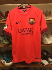 NIKE FC BARCELONA 2014-'15 AWAY SOCCER JERSEY MENS SMALL UNICEF QATAR AIRWAYS