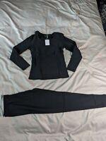 Ekouaer Women's Long Thermal Underwear Base Layering Set CD4 Black Small NWT