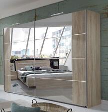 SlumberHaus German Davos Modern 225cm Oak and Mirror Sliding Door Wardrobe