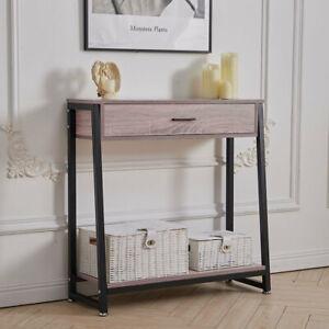 Wall Side Table w/ Drawers Bottom Shelf Wood Dressing Desk Hallway Console Stand