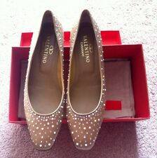 NIB $425 Valentino Crystal and Pearl, Satin Champagne Low Heels, Size 41.5