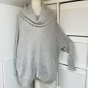 Mint Velvet Hygge Grey Cowl Neck Jumper Size 14 Oversized Relaxed Mohair Content
