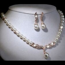 18k rose gold GF made with swarovski crystal pearl necklace earrings set