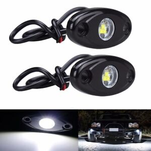 2X White LED Rock Lights Trail Fender Underbody Glow Lamp Offroad for Jeep Truck