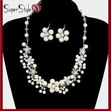 Cream Chain Crystal Faux Pearl Flower Fashion Leaf Fashion Necklace