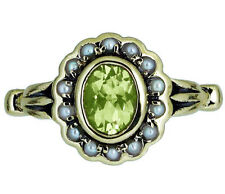 R290 Genuine 9K Yellow Gold Natural Peridot & Pearl Cluster Ring size N Tulip