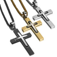 Fashion Silver Gold Black Women Men Stainless Steel Cross Pendant Rolo Necklace