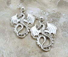 Pewter Dragon Charms on Sterling Silver Ball Post Stud Earrings -5052