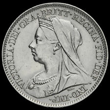 More details for 1900 queen victoria veiled head silver sixpence, a/unc