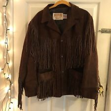 Western Authentic Styling By Schott Men's  Brown Fringe Leather Jacket Size 40