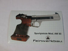 Feinwerkbau AW93 cal. 22 Pistol sticker