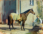 FRAMED CANVAS ART PRINT Giclee   cherrybounce and stable boy horse munnings