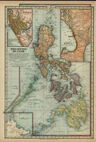 Philippine Islands Manila Luzon Mindanao Bisayas c. 1900 Miller offset color map