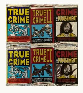 True Crime trading cards assorted 6 pack. Series 1, 2, and Crime & Punishment