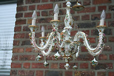 A capodimonte marked porcelain 1950 majolica Flowers Chandelier 6 arms
