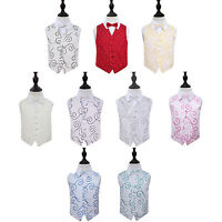 DQT New Jacquard Scroll Pattern Page Boy Vest Wedding Boy's Waistcoat & Bow Tie
