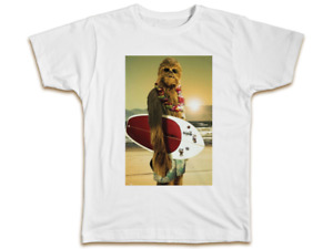 Chewbacca Surfing T-Shirt - Funny Star Wars Top Cool Birthday Present Gift Dad
