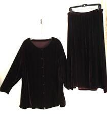 Eileen Fisher -Sz 1X 2X Gorgeous Dark Rich Brown-Purple Velvet Jacket Skirt Set