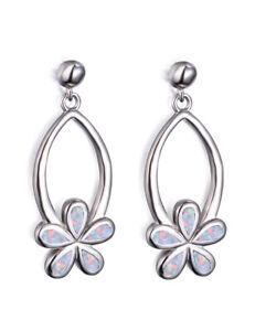 European Flower Silver Filled White simulated Opal Ear Stud Earring Jewelry