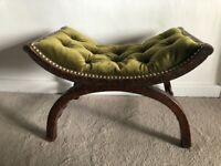 Antique French Oak  19th century 1837-1901 X frame stool buttoned curved seat
