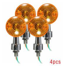 4 Pcs Chrome Universal Motorcycle Turn Signal Indicator Amber Blinker Lights