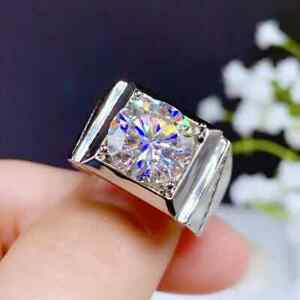 Attractive Men's Solitaire Engagement Wedding Ring 14K White Gold 2.6 Ct Diamond