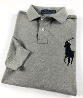 Ralph Lauren Polo Shirt Men's Grey Heather Big Pony Long Sleeve RRP £129