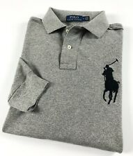Ralph Lauren Polo Camisa Para Hombres Mangas Largas Gris Heather Big Pony RRP £ 129