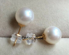 PERFECT Round 10-11MM AAA+ Real WHITE SOUTH SEA  PEARL STUD EARRINGS 18K  GOLD