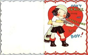 Vintage Die Cut Valentine Greeting Funny Girl with Rifle Don't Tr-Riffle Pirate