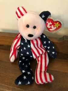 ty Original Beanie Baby Retired Spangle the Bear Pink Face Red Blue Error on Tag