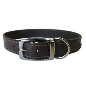 """Dog Collar 3/4"""" Wide 100% Real Leather Dog Collar with Chrome Hardware"""