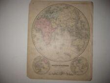 ANTIQUE 1866 EASTERN HEMISPHERE HANDCOLORED MAP ASIA AUSTRALIA AFRICA MOUNTAIN