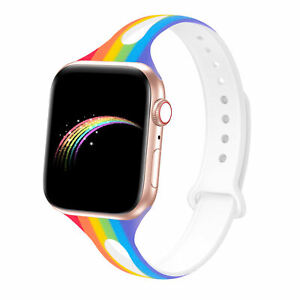 Soft Silicone Rainbow Design Strap for Apple Watch to fit 38mm / 40mm