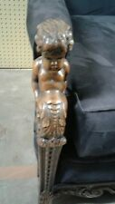 Karpen cherub carved 1920's sofa with new suede