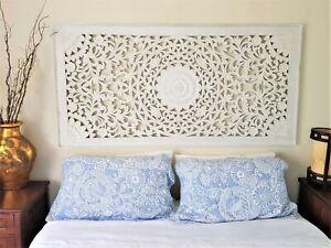 Bed head Mandala Shabby Chic Wall Art Hanging Wood Panel Carving Bali 160cm