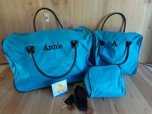 Blue Annie Travel Luggage 3 Pcs Rolling Duffle Bag Tote and Personal Case