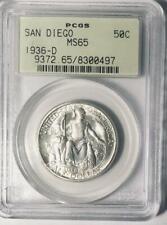 1936-D  San Diego Commemorative Silver Half Dollar - PCGS MS 65 - Mint State 65