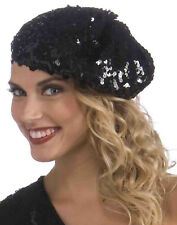 Black Flapper Sequin Beret 1920'S Vintage Mod Gatsby Hat Accessory